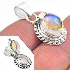 925 silver 3.12cts natural multi color ethiopian opal poison box pendant t45450
