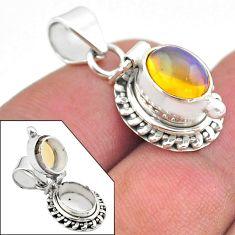 925 silver 3.10cts natural multi color ethiopian opal poison box pendant t45453