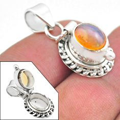 925 silver 3.25cts natural multi color ethiopian opal poison box pendant t45456