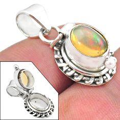 925 silver 3.13cts natural multi color ethiopian opal poison box pendant t45458