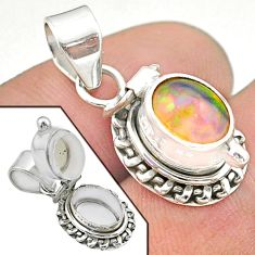 925 silver 2.97cts natural multi color ethiopian opal poison box pendant t45554
