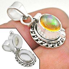 925 silver 2.97cts natural multi color ethiopian opal poison box pendant t45557