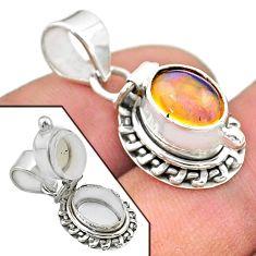 925 silver 2.99cts natural multi color ethiopian opal poison box pendant t45559