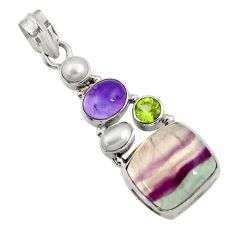 925 silver 17.64cts natural multi color fluorite amethyst pearl pendant d43729