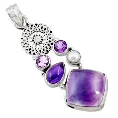 Clearance Sale- 925 silver 17.67cts natural multi color fluorite amethyst pearl pendant d43732