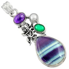 925 silver 22.29cts natural multi color fluorite chalcedony pearl pendant d43739