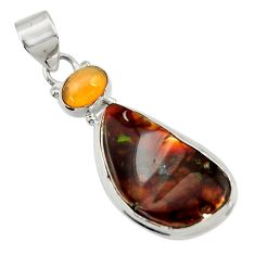 Clearance Sale- 925 silver 14.72cts natural multi color mexican fire agate fancy pendant d43475