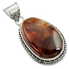 Clearance Sale- 925 silver 25.05cts natural multi color mexican fire agate fancy pendant d43492