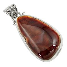 Clearance Sale- 925 silver 19.23cts natural multi color mexican fire agate fancy pendant d43497