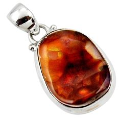 925 silver 14.14cts natural multi color mexican fire agate fancy pendant r50071