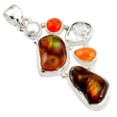 925 silver 19.00cts natural multi color mexican fire agate pearl pendant r20328