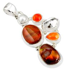 925 silver 17.67cts natural multi color mexican fire agate pearl pendant r20331