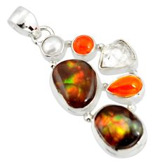 925 silver 18.10cts natural multi color mexican fire agate pearl pendant r20335