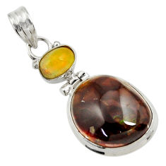 Clearance Sale- 925 silver 15.55cts natural multi color mexican fire agate pendant d43471