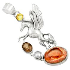 925 silver 13.34cts natural multi color mexican fire opal unicorn pendant d43808