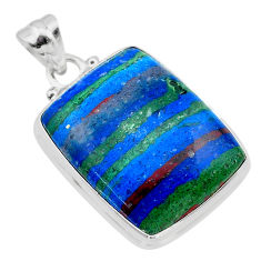 925 silver 19.23cts natural multi color rainbow calsilica octagan pendant t26467