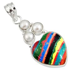Clearance Sale- 925 silver 12.55cts natural multi color rainbow calsilica pearl pendant d39484
