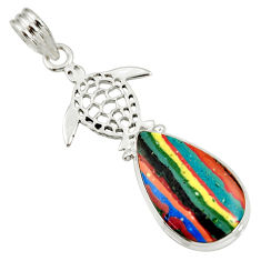 925 silver 14.23cts natural multi color rainbow calsilica turtle pendant d39499