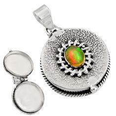 925 silver 2.13cts natural multicolor ethiopian opal poison box pendant r30670