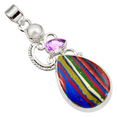 Clearance Sale- 925 silver 17.20cts natural multicolor rainbow calsilica amethyst pendant d42304