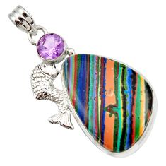 Clearance Sale- 925 silver 24.00cts natural multicolor rainbow calsilica fish pendant d42308