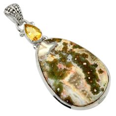Clearance Sale- 925 silver 24.00cts natural ocean sea jasper (madagascar) citrine pendant d43253