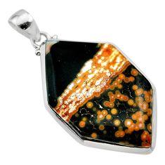 925 silver 23.41cts natural ocean sea jasper (madagascar) fancy pendant t22428