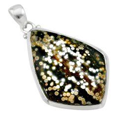 925 silver 22.87cts natural ocean sea jasper (madagascar) fancy pendant t22445