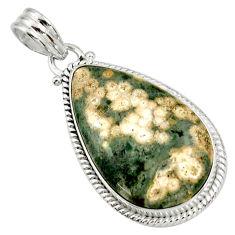 Clearance Sale- 925 silver 19.23cts natural ocean sea jasper (madagascar) pear pendant d41360