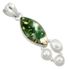 925 silver 12.18cts natural ocean sea jasper (madagascar) pearl pendant d43232