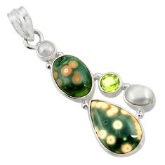 Clearance Sale- 925 silver 13.85cts natural ocean sea jasper (madagascar) pearl pendant d43247