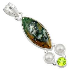 925 silver 14.12cts natural ocean sea jasper (madagascar) pearl pendant d43250
