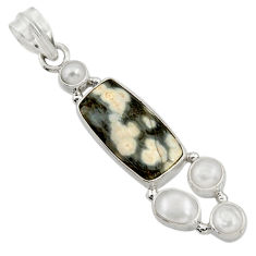 Clearance Sale- 925 silver 12.60cts natural ocean sea jasper (madagascar) pearl pendant d43256