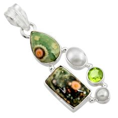 Clearance Sale- 925 silver 13.55cts natural ocean sea jasper (madagascar) pearl pendant d43258