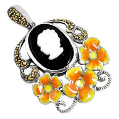 925 silver 10.46cts natural black onyx pearl enamel lady face pendant c16668