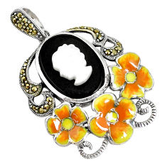 925 silver 10.89cts natural black onyx pearl enamel lady face pendant c16661