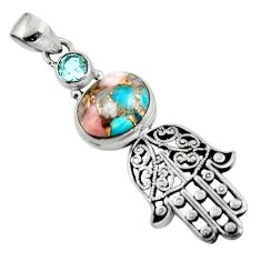 925 silver 5.72cts natural opal in turquoise hand of god hamsa pendant r52796