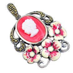 925 silver 10.16cts natural pink opal pearl enamel lady face pendant c16673