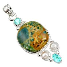 Clearance Sale- 925 silver 26.70cts natural orange apatite (madagascar) topaz pendant d44131