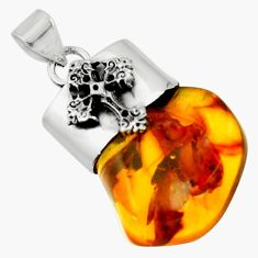 925 silver 14.40cts natural orange baltic amber (poland) cross pendant r51632