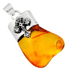 925 silver 17.20cts natural orange baltic amber (poland) cross pendant r51638