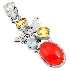 Clearance Sale- 925 silver 8.42cts natural orange cornelian (carnelian) dragonfly pendant d43660