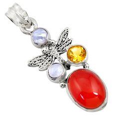 Clearance Sale- 925 silver 8.42cts natural orange cornelian (carnelian) dragonfly pendant d43669