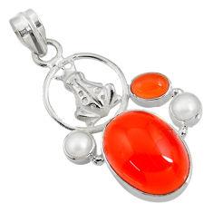 Clearance Sale- 925 silver 17.77cts natural orange cornelian (carnelian) frog pendant d43653