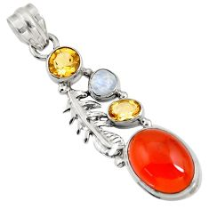 925 silver 9.39cts natural orange cornelian (carnelian) moonstone pendant d43645