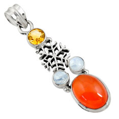 925 silver 8.68cts natural orange cornelian (carnelian) moonstone pendant d43665