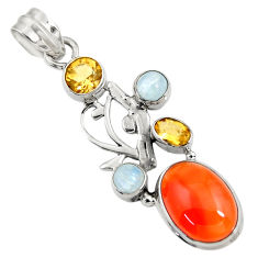 925 silver 9.65cts natural orange cornelian (carnelian) moonstone pendant d43676