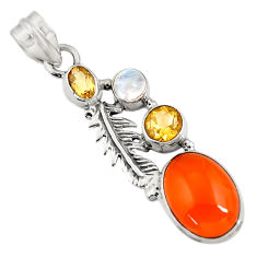 925 silver 7.84cts natural orange cornelian moonstone feather pendant d43671