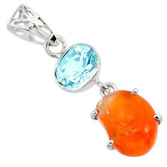 925 silver 8.10cts natural orange mexican fire opal blue topaz pendant r71773