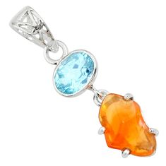 925 silver 7.66cts natural orange mexican fire opal blue topaz pendant r71780